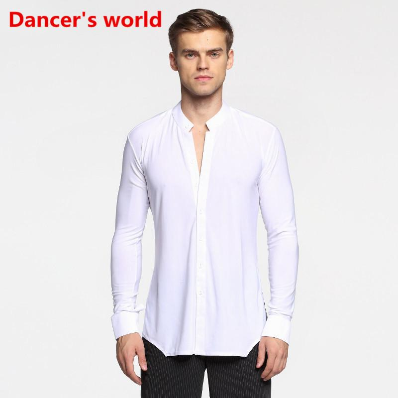7a8334998 2019 Long Sleeve Button Mens Latin Shirts Dance Top Ballroom Dancewear Latin  Dance Costumes Stage Clothing For Men Ballroom Clothes From Blueberry15, ...