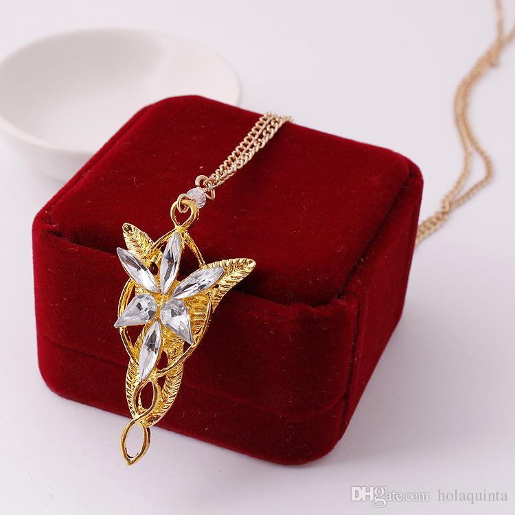 Mago Princesa Arwen Evenstar prata Pingente Colar Collares Evening Star Colares De Cristal Para As Mulheres