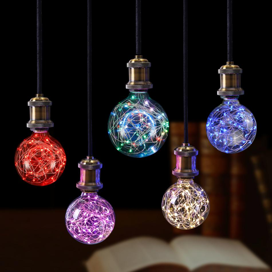 E27 110V 220V Retro Edison Fairy LED String light Bulb RGB LED holiday Light Filament lamp Indoor Christmas home decor light