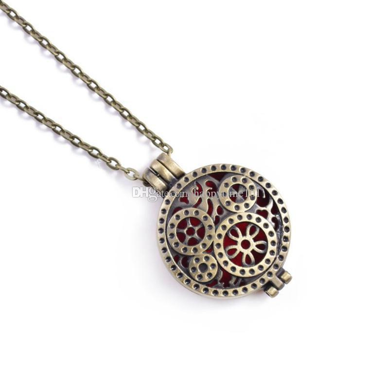 """Ancient Bronze Flower Essential Oil Diffuser Necklace Aromatherapy Jewelry 10 Pattern Scent Lockets 29"""" Chain + 5 Insert Pads + Charms"""