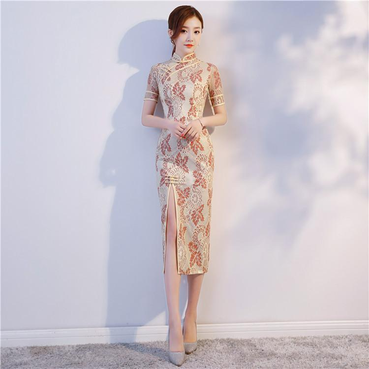 d28fec6cf 2019 High Quality Cheongsam Long Lace Qipao Modern Chinese Dress Mermaid Evening  Gown Traditional Chinoise Qi Pao Formal Dresses From Vikey13, ...