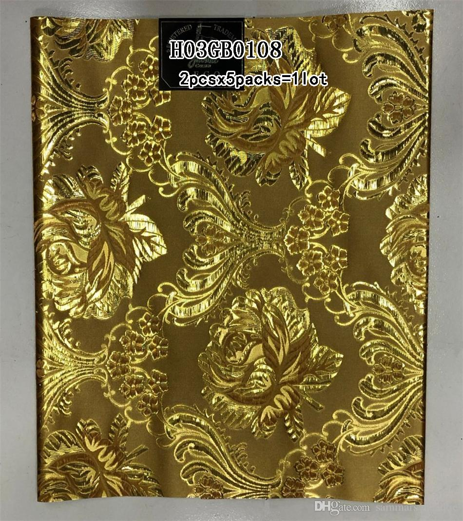 Oro all'ingrosso Headtie Nigeria Nigeria Aso Oke Design Headtie Wedding Headwear di alta qualità 10 pezzi lotto la festa H03GB0102