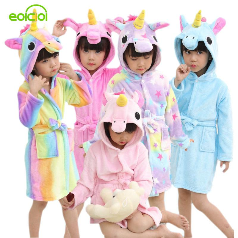 7e4118e922 EOICIOI Kids Boys Girls Bathrobes Flannel Hooded Cartoon Pegasus Children  Towel Robes Autumn Winter Baby Clothes Sleepwear Y18102908 Boy And Girl  Matching ...