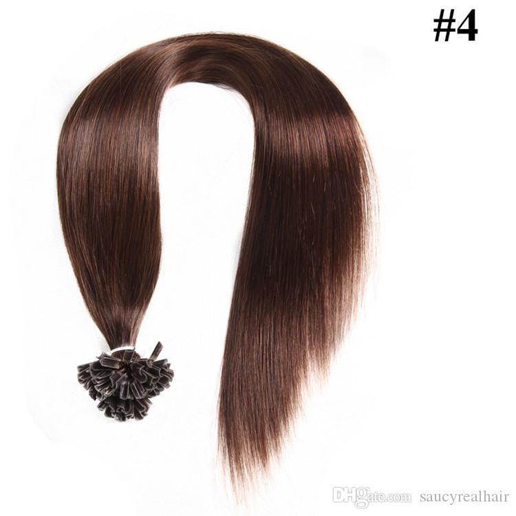 1 г / с 100 г в упаковке 14 '- 24' '100% наращивание волос из натуральных волос U-образный наконечник Реми перуанский Прямой кончик ногтя для волос 5 вариантов цвета