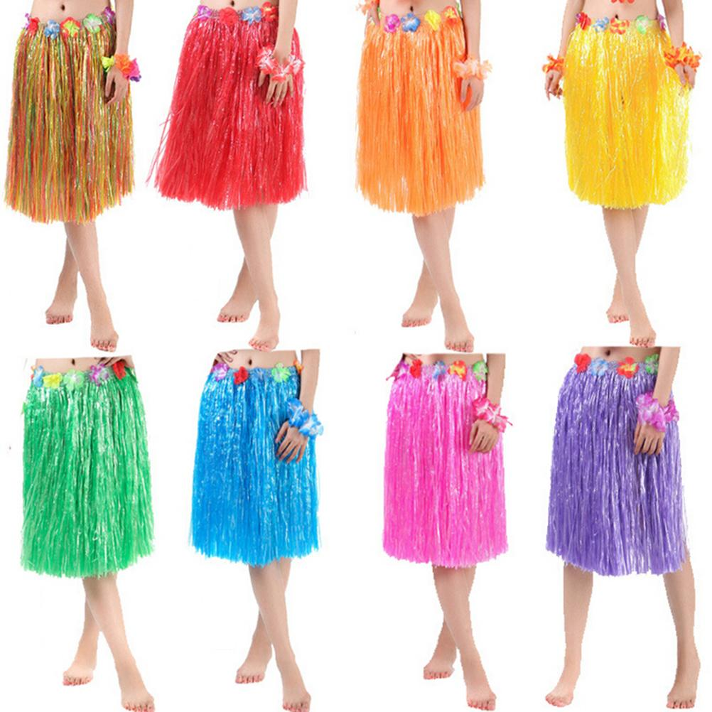 Awesome Hawaiian Costume Plastic Fibers Women Grass Skirts Hula Skirt With Flower  Wholesale Ladies Dress Up Party Supplies