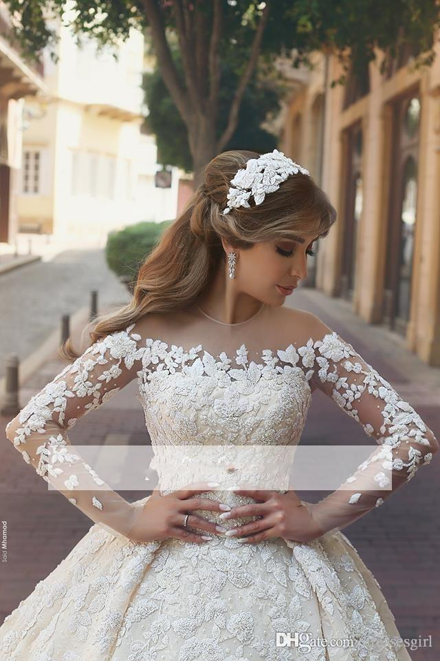 Sheer Long Sleeve Wedding Dresses Jewel Neck Zipper Back Lace Appliques Tulle Ball Gown Bridal Gowns Garden Wedding Gowns