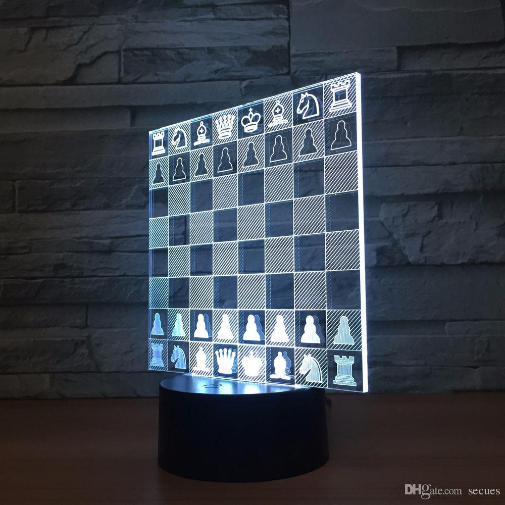 Chess 3D Optical Illusion Lamp Night Light DC 5V USB Powered 5th Battery Wholesale Dropshipping