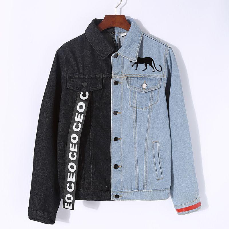 809e63f1f2514 Lyfzous Left Black Right Blue Denim Jacket Women Letter Ribbon Contrast  Color Jean Jacket Female Slim Coat Womens Denim Jackets Leather Jacket Mens  Quilted ...