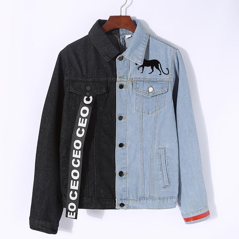 9572ff61b3ded Satın Al Lyfzous Sol Siyah Sağ Mavi Kot Ceket Kadın Mektubu Şerit Kontrast  Renk Jean Ceket Kadın Ince Ceket Bayan Denim Ceketler, $39.97    DHgate.Com'da