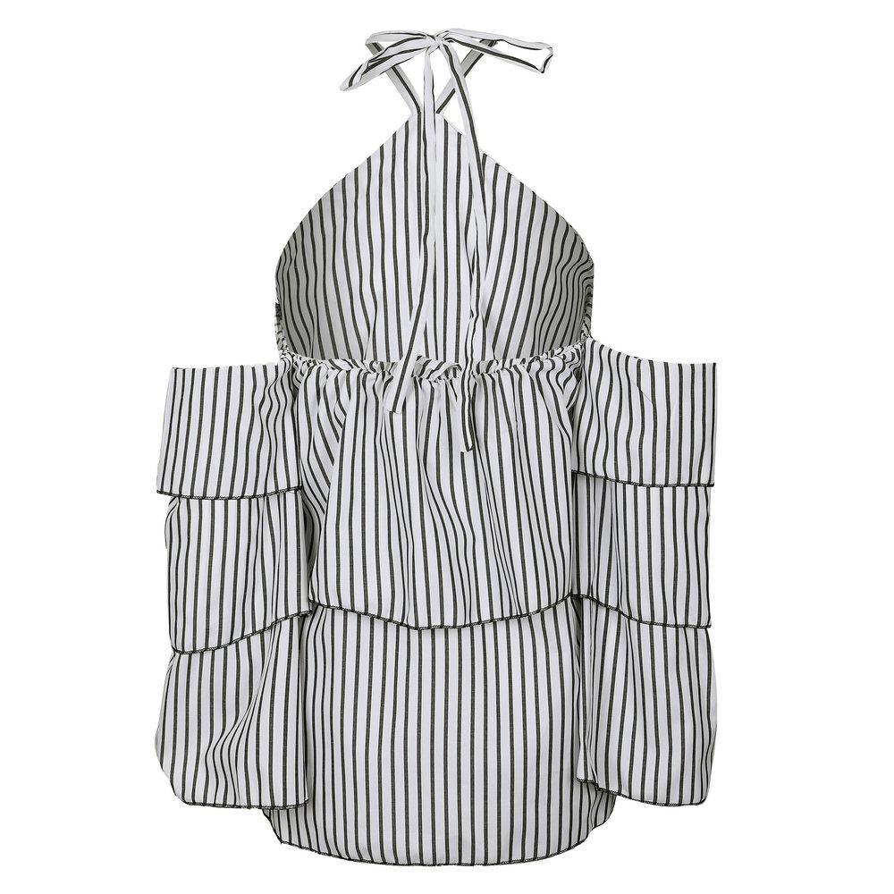 Top a righe con volant Blusas Blusa donna Camicetta manica sexy spalla fredda Camicia Backless Feminina Beach Holiday Top camisa feminina