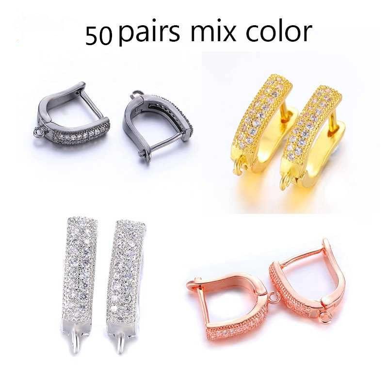 Wholesale Fashion Clasps Earrings Accessories Copper CZ Rhinestone DIY Findings for Jewelry Making Earing Hook Clasps Ears Cuff