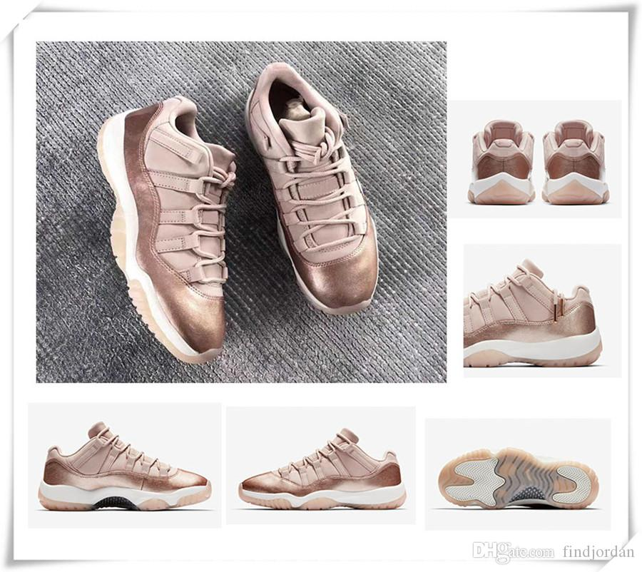14b0ffd02 New 11 Low GS Rose Gold Women Basketball Shoes WMNS Sail/Metallic ...
