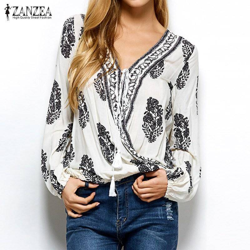 fb2ad874045 2019 New Arrival 2018 ZANZEA Women Tops Autumn Vintage Print Blouses Sexy V  Neck Long Sleeve Shirts Casual Loose Blusas Plus Size D18103102 From  Shen8403