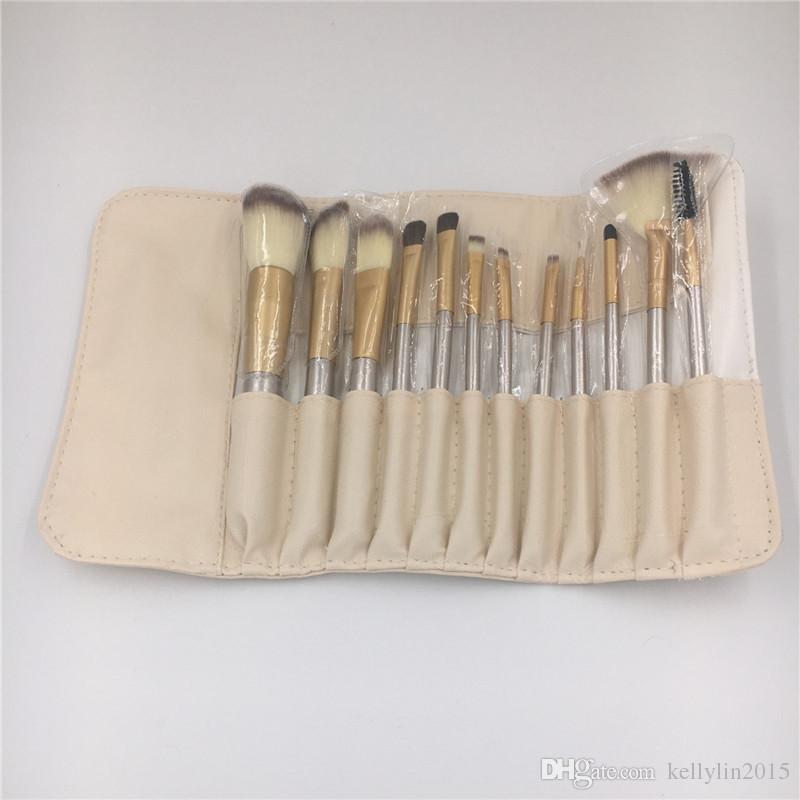 Professional Makeup Brushes Sets 12 18 White Black Eyeshadow Blush Lip Brush Multipurpose Full Make Up Brushes Kit with Leather Bag