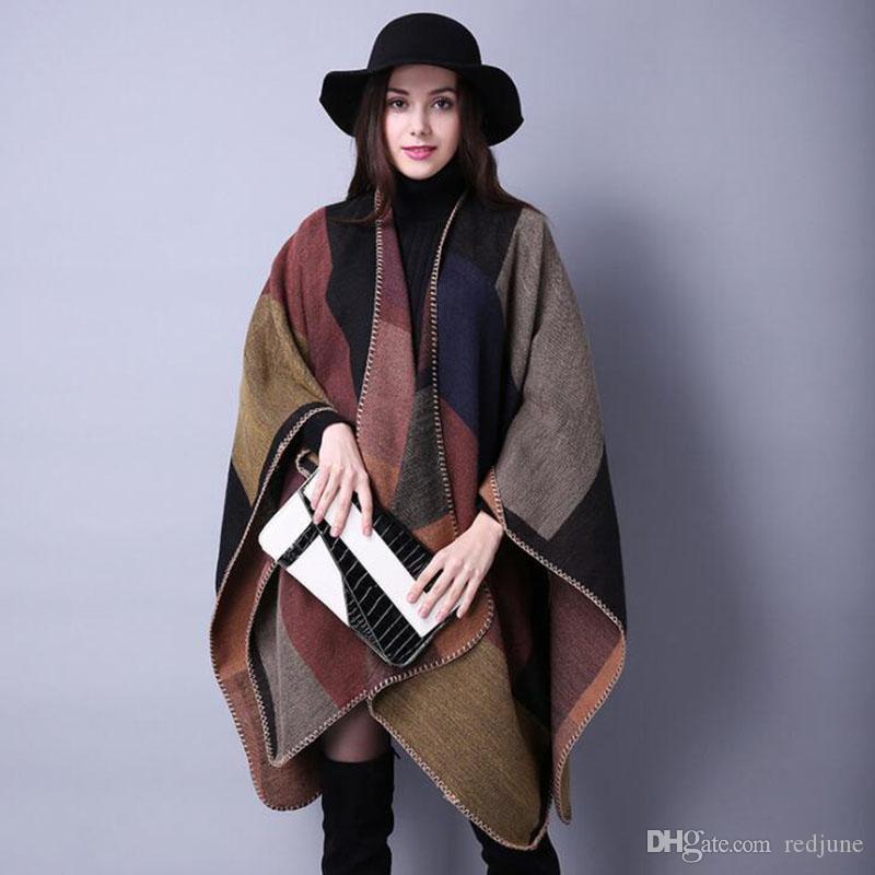 العلامة التجارية الجديدة للمرأة الشتاء المعطف خمر بطانية المرأة سيدة حك شال كيب الكشمير وشاح المعطف شحن مجاني