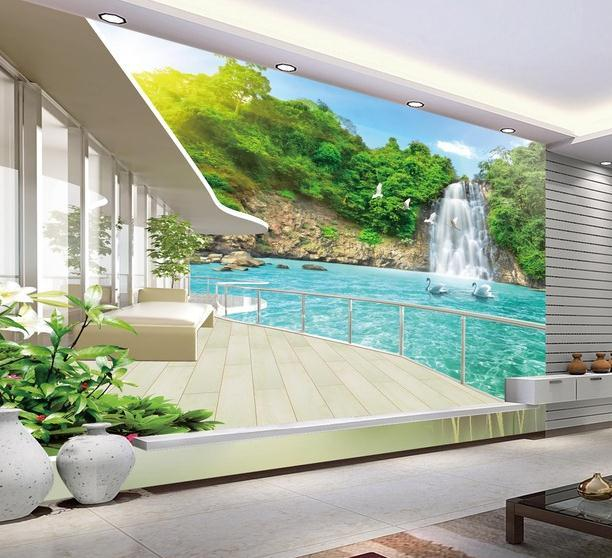 Wholesale 3d Wallpaper For Room Balcony Beautiful Waterfall Scenery Custom Photo Home Decoration Hd A Wallpapers Free From Lienal