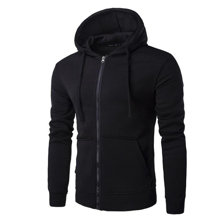 Outono e inverno novos homens com capuz zíper cor sólida casuais camisola dos homens jaqueta