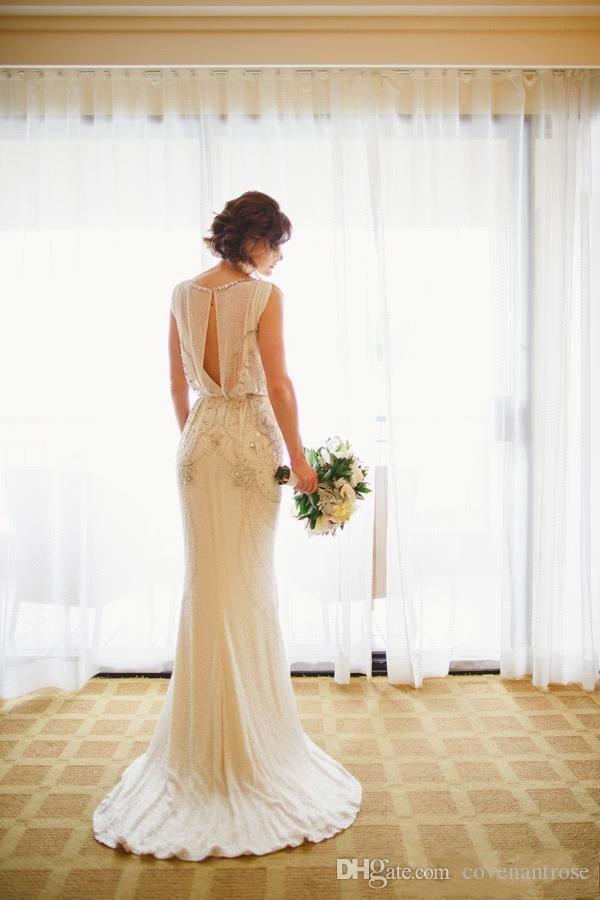 Vintage Jenny Packham Wedding Dresses Crepe Beading Crystal Sheath Bridal Gowns Summer Beach Vestido De Novia Custom Wedding Gowns