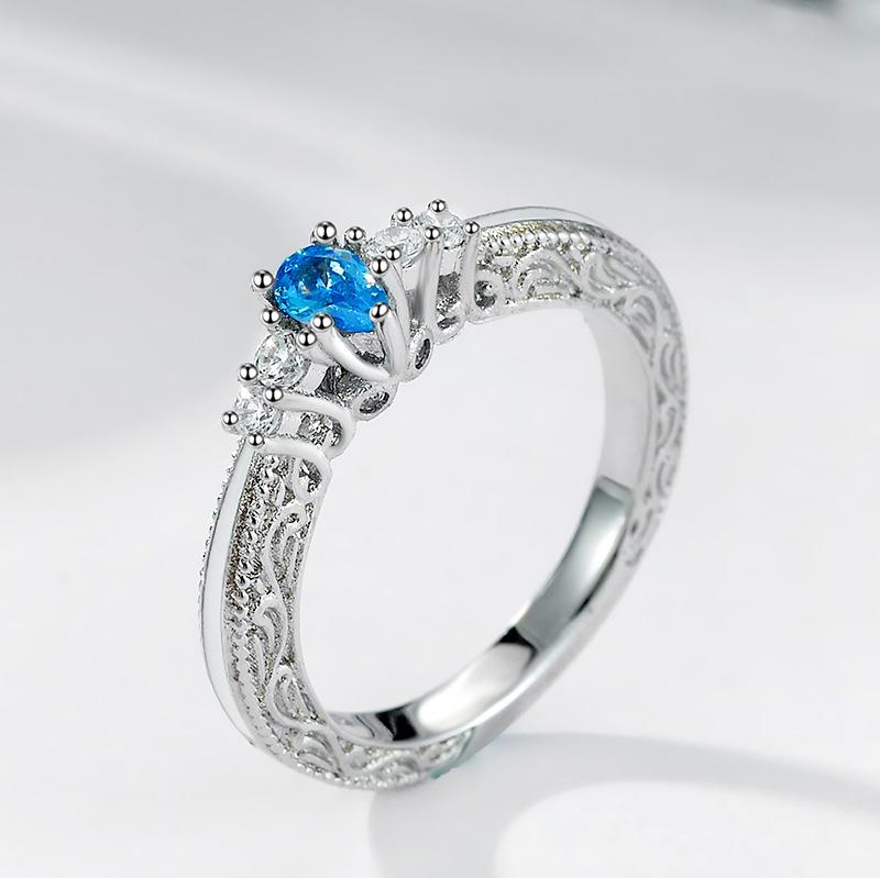 Wish New Europe Blue Gem Topaz Ring Engagement Ring Shi Party
