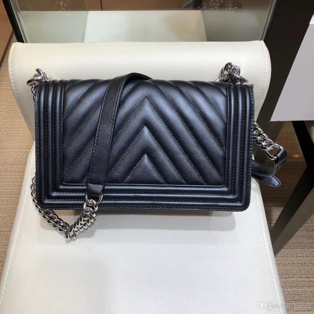 77fb046699e5 2018 New Summer Model Chevron Falp Bag Top Quality BOY Famous Designer  Lambskin Women Bag Agate Buckle Lady Fashion Chain Shoulder Boy Bag  Wholesale ...