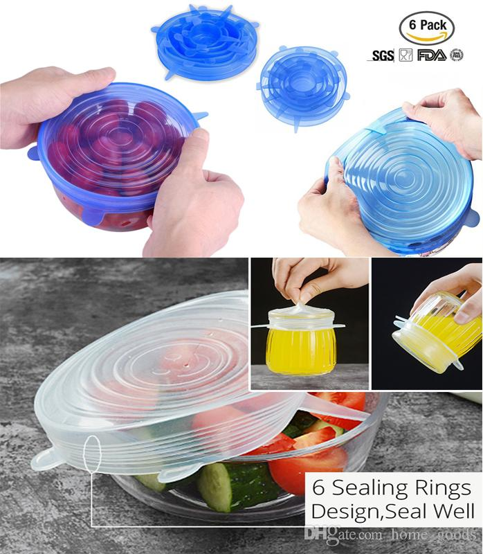 6Pcs Set Food Grade Silicone Seal Cover Fresh Lid Reusable Vacuum Saran Wrap Sealed Bowl Lids Refrigerator Food Storage Film Stretchable