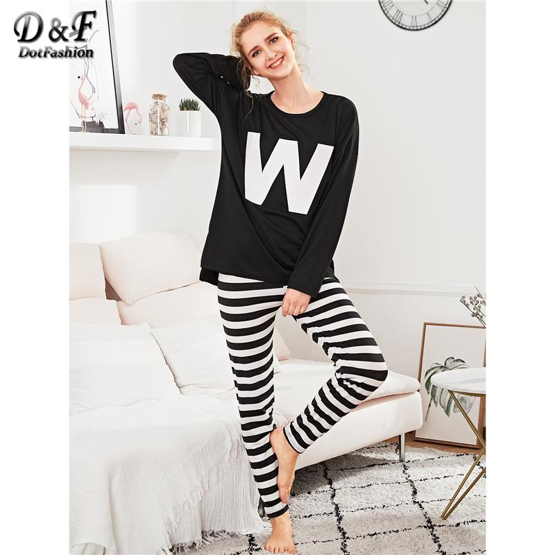 2f32c2615169 2019 Dotfashion Letter Print Tee   Striped Pants PJ Set 2018 Spring Round  Neck Long Sleeve Sleepwear Ladies Asymmetrical Split Pajama From  Jellwaygood