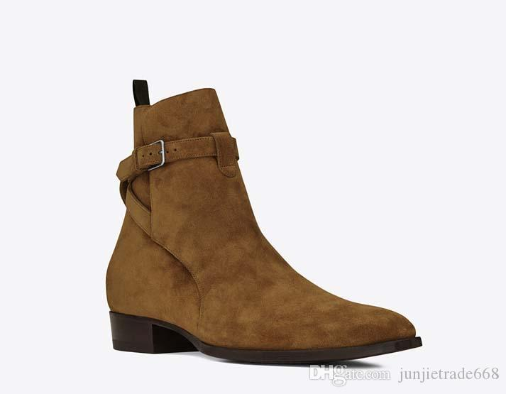 2019 new England pointed toe wyat men jurdpur boots Buckle Strap slp ankle luxury suede boots