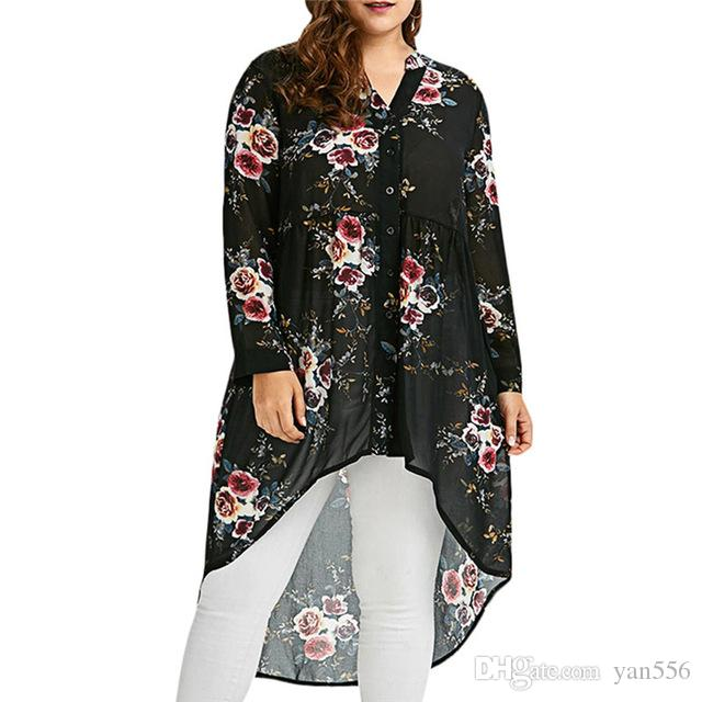 2018 Plus Size Women s Floral Print Blouse Stand Collar Long Sleeved ... eacca0136f00