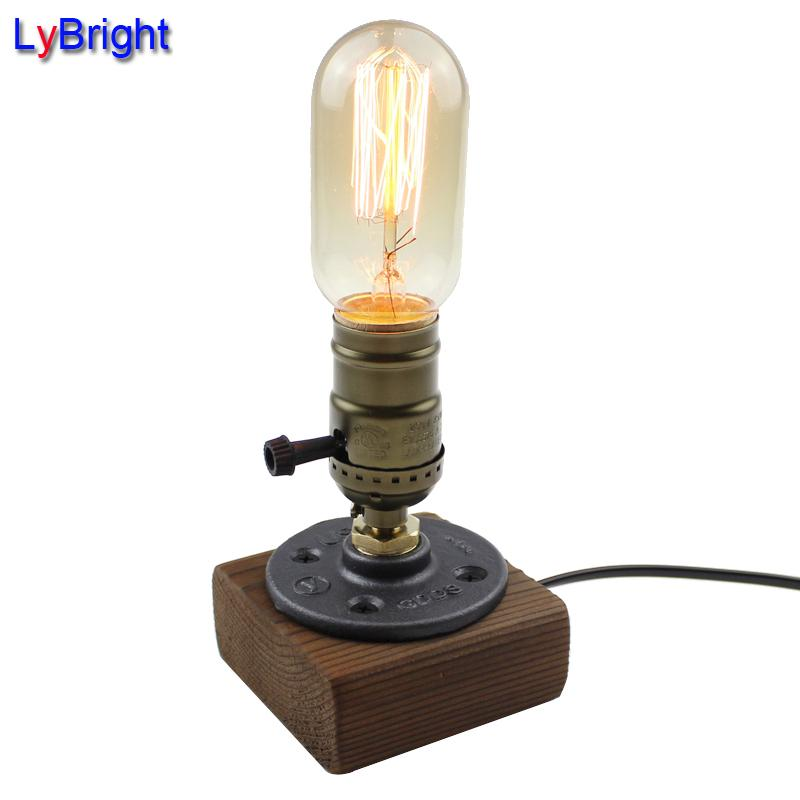 Online Cheap Vintage Loft Wood Wooden Table Lamp Light Edison Bulb
