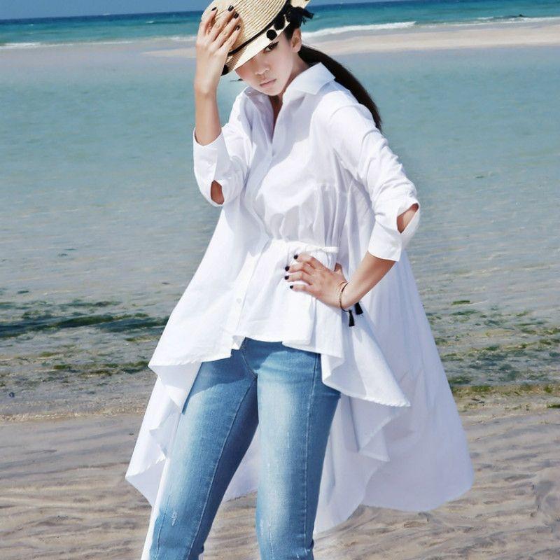 Mikialong 2017 Plus Size Moda asimmetrica camicia bianca lunga camicetta irregolare donne primavera coreana manica lunga Top Femme