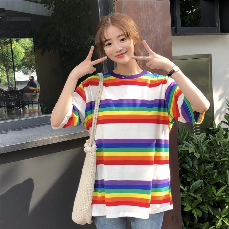 475d6dffe036 Summer Clothing Womens T Shirts Tops 2018 Korean Ulzzang Harajuku Rainbow  Striped T Shirt For Women Casual Short Sleeve T Shirts T Shirts T Shirts T  Tee ...