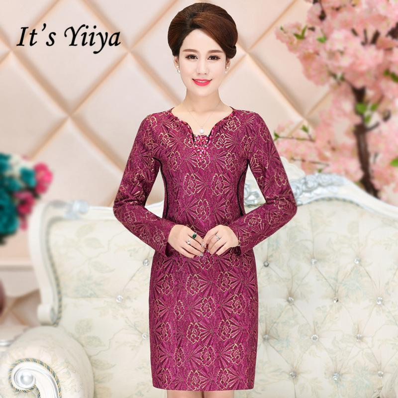 307b6bce5f28 It's Yiiya Mother of the Bride Dresses V-Neck Full Sleeve Fashion ...