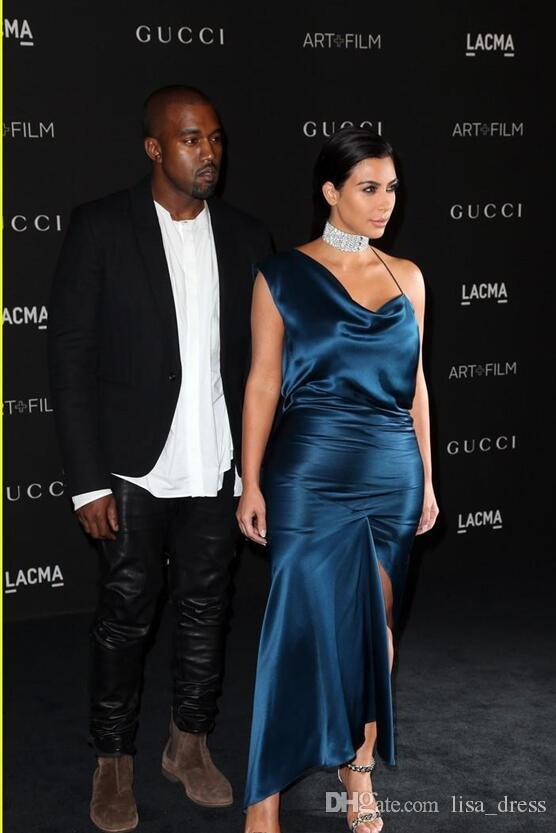xy Red Carpet Celebrity Dress CMA Kim Kardashian One Shoulder Sheath Evening Gowns Formal Cocktail Dress Women Wear