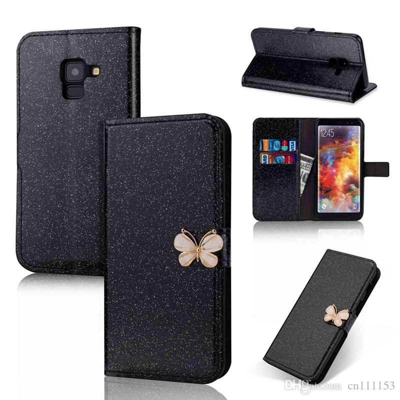 For Samsung Galaxy A8 PLUS A82018 A32017 A52017 A32016 A52016 Glitter Shine and Butterfly Card Holder Wallet Case