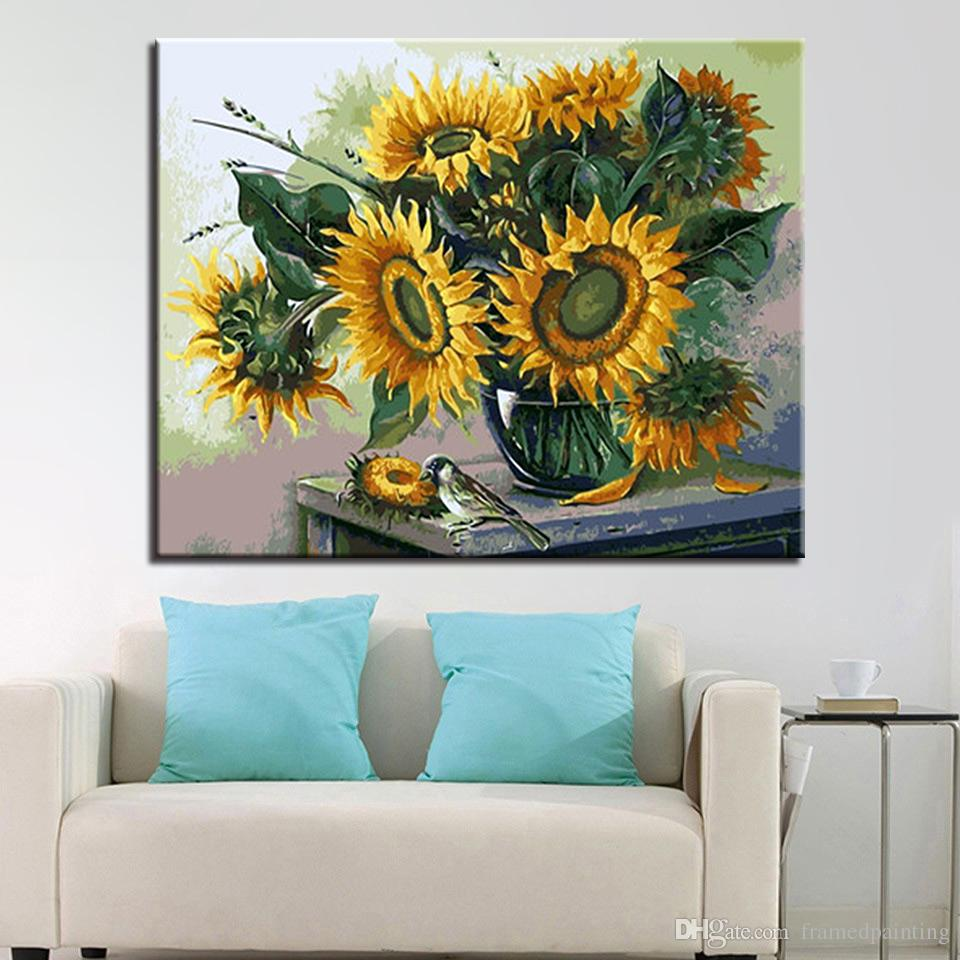 2019 Sunflowers DIY Oil Painting By Numbers Abstract Bird ...