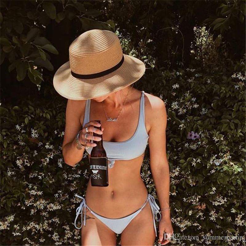 Summer Cloth 2019 Hot Bikini Swimwear Bikini To Tie a Sexy Vest On The Chest Blue Pink Black Swimsuit