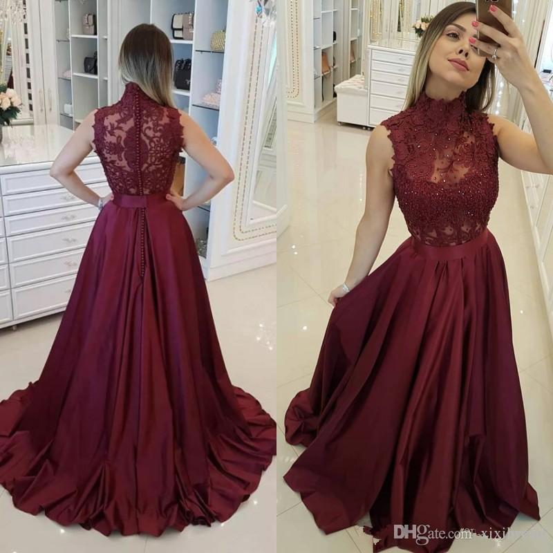 2019 Burgundy Prom Dresses High Neck Sleeveless Beaded Lace Appliques  Illusion Sweep Train A Line Evening Party Gowns Really Cheap Prom Dresses  Sequined ... 7e4fefd7a