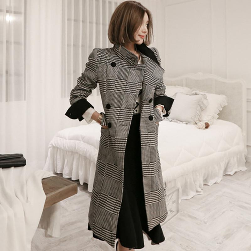 c861ffa4a49 2019 ZAWFL Womens Wool Plaid Long Coat Loose Plus Size Coat Straight Double  Breasted Coats Korean Winter Abrigo Mujer Invierno From Cravat