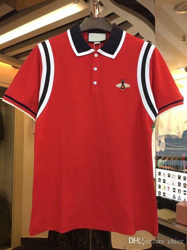 19b948e5aa33d Compre Moda 2018 Diseñador De Lujo Italiano De La Marca Polos De Los Hombres  Etiqueta De La Abeja Parche Bordado Polo Camisa De La Raya Camiseta Polos  ...