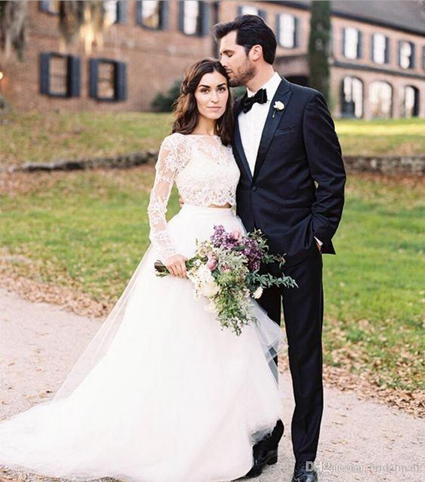 Illusion långa ärmar två stycken strand bröllopsklänningar 2019 applicerad spets brudklänningar knapp tillbaka anpassade brud klänningar vestido de novia