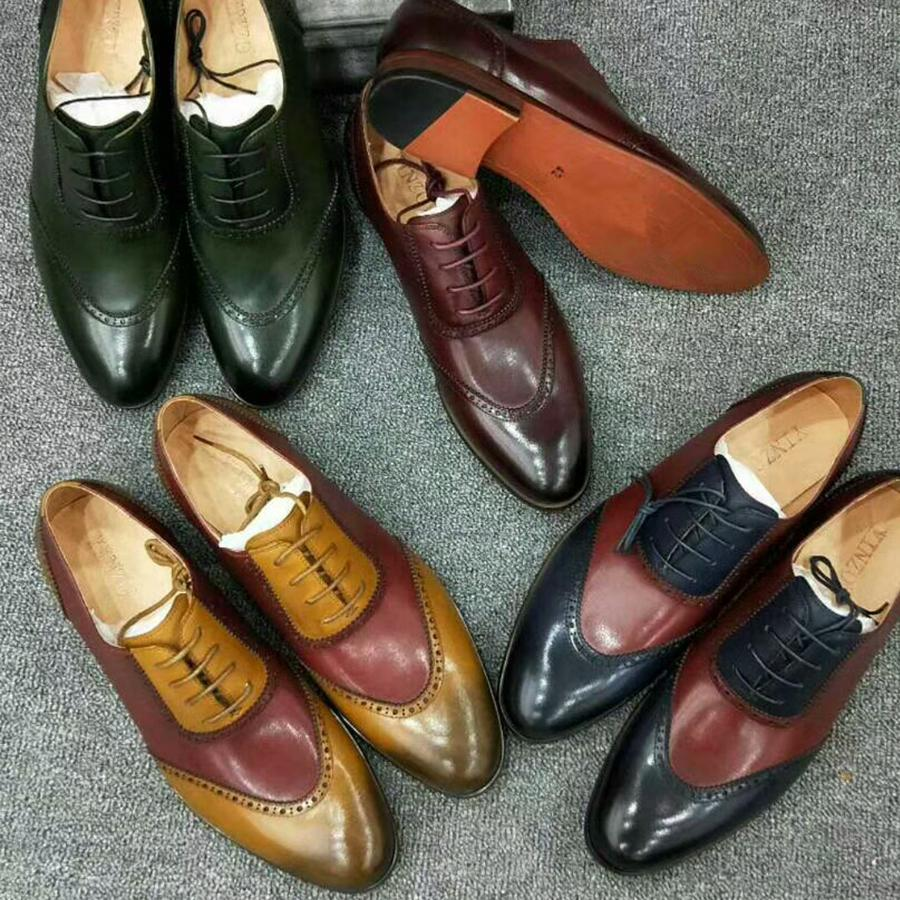 Men Shoes Yinzo Mens Genuine Sheepskin Leather Dress Brogue Flats ... e06176ef2510