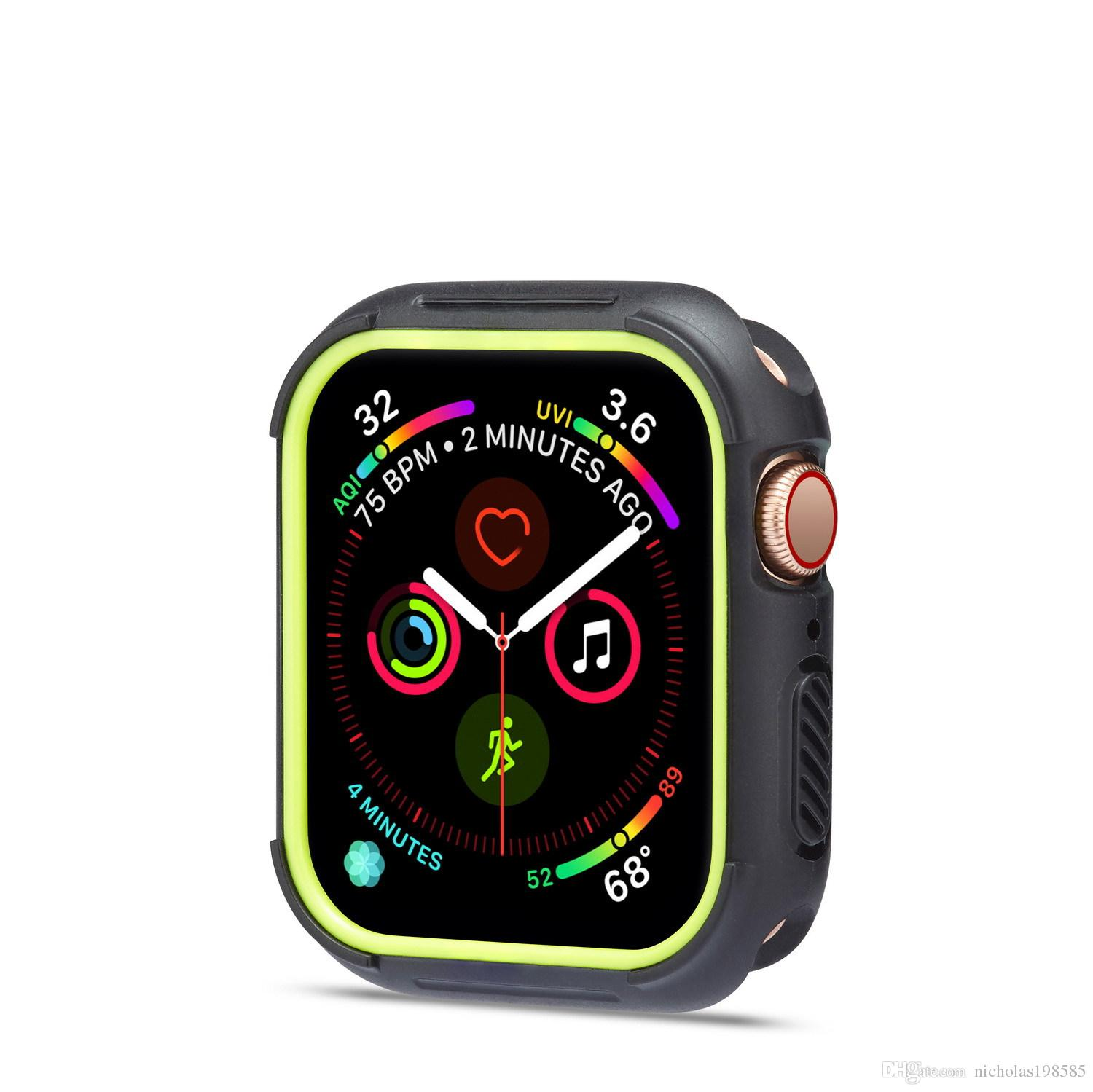 879f6a2b164 Fashion Dual Colors Soft Silicone Case Bumper For Apple Watch IWatch Series  1   2   3 Cover Frame Full Protection 42mm 38mm Watch Leather Strap Leather  ...