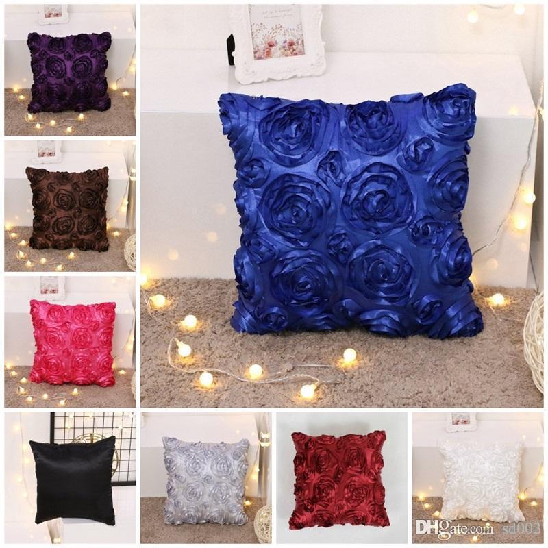 dcd71d89142 Square Throw Pillows Creative Design 3D Rose Flower Pillow Case For Sofa  Cushion Cover Home Decor Fundas De Cojines Many Colors 6gr ZZ Black And  White ...