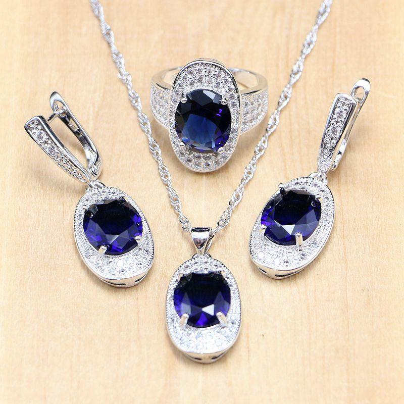 77f34fd14af Casual 925 Silver Bridal Jewelry Sets Blue Cubic Zirconia White Crystal  Stones Women Weeding Pendant Earrings Rings Necklace Set Fashion Jewelry  Sets ...