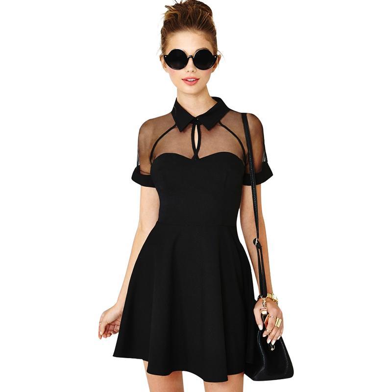 Women 4XL 5XL Plus Size Skater Dress Sheer Mesh Insert Turn Down ...