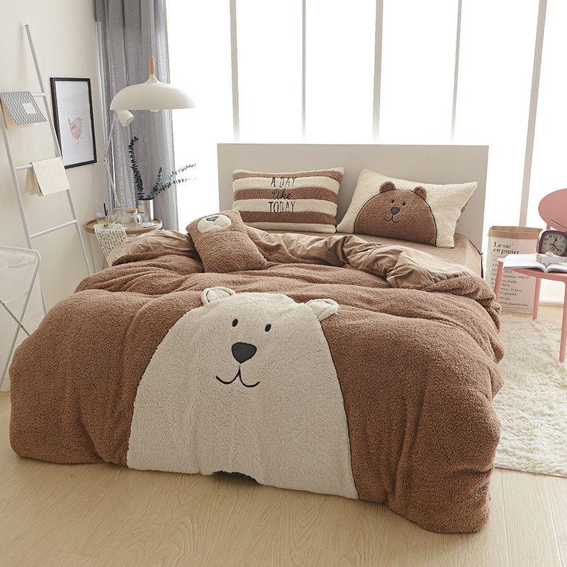 Cute Dog Bear Bed Linen Designer Winter Warm Bedding Sets Cashmere