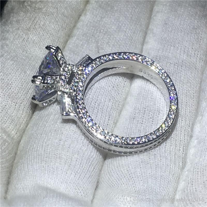 Kadın Eyfel Kulesi Şekli halka 925 Ayar gümüş 8ct 5A Cz Taş Nişan düğün band yüzük kadınlar için Gelin Takı