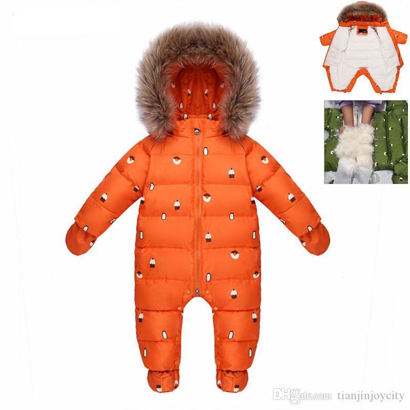 7827dfcf572ee Acheter Pour Combinaison D hiver Russe Bébé Fille Vêtements Habit De Neige  90% Canard Doudoune Pour Filles Manteaux Park Infantile Garçon Neige Usure  De ...