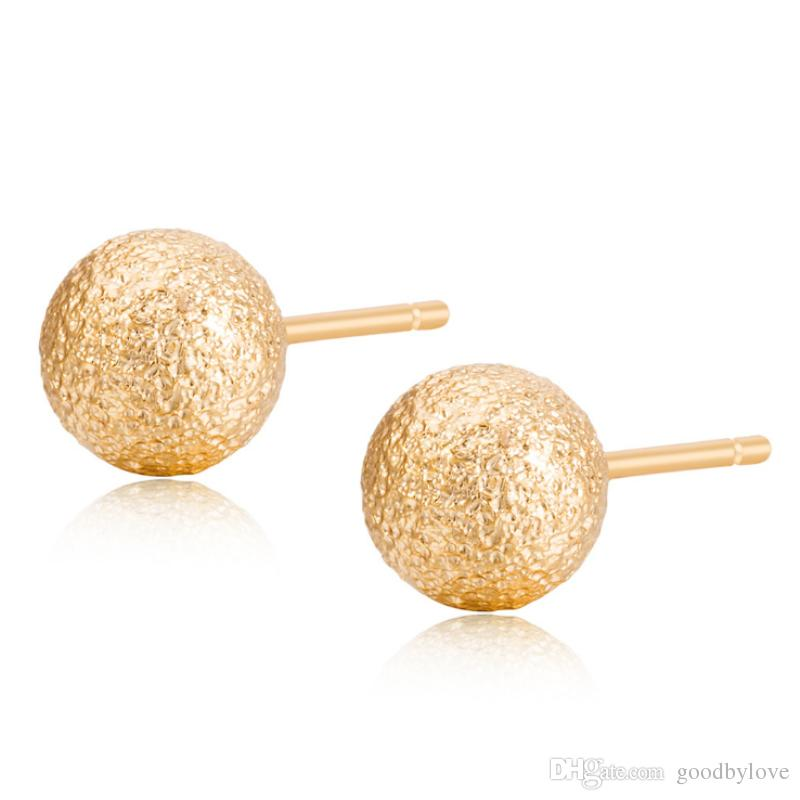 6MM Small Mini 18K Yellow Gold Plated Brushed Round Ball Piercing Stud Earrings Fashion Party Costume Jewelry Bijoux for Women Girls