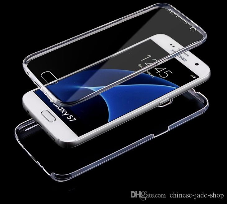 big sale 59e16 84d5e For SAMSUNG Galaxy S6 s6 edge S7 s7 edge S8 s9 S8 Plus 360 Degree Full  Protective TPU Transparent Case Front and Back Cover Touch Case 100p